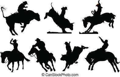 noir, rodéo, sept, silhouettes.