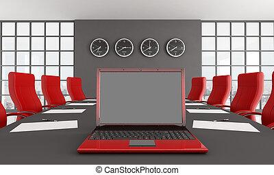noir rouge, salle, réunion