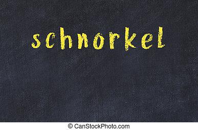 noir, schnorkel, tableau, inscription