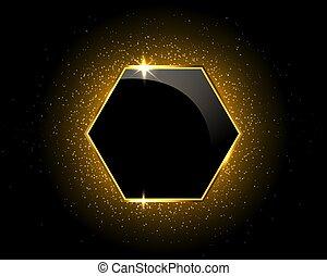 noir, scintillement, hexagone, or, étincelant, fond