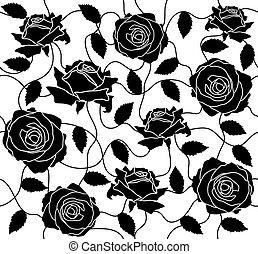 noir, seamless, roses