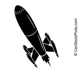noir, silhouette, lancement fusée