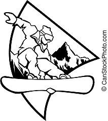 noir, snowboard, -, blanc, logo