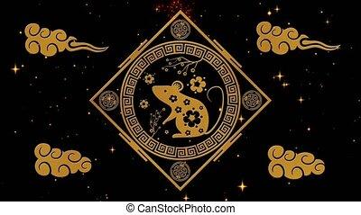 noir, stars., 4k, lunaire, festival, année, doré, rat, chinois, toile de fond, event., vidéo, nouveau, 3d, vacances, fond, feux artifice, nuit, animation., boucle, printemps, étoilé, rendre, année, seamless, scintillement