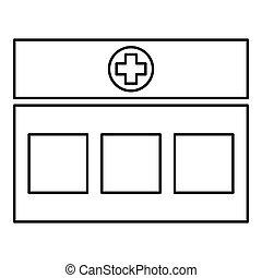 noir, style, icône, couleur, clinique, vecteur, bâtiment, illustration, hôpital, contour, plat, image, monde médical