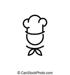 noir, symbole., chef cuistot, icon., cuisine, cuisine, chapeau