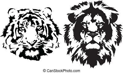 noir, têtes, tigre, lion