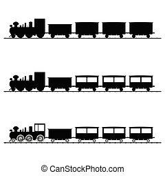 noir, train, vecteur, silhouette, illustration