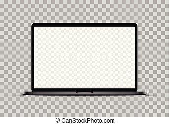 noir, transparent, checkered, vide, ordinateur portable, réaliste, screen., mockup
