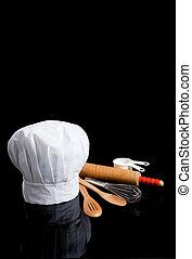 noir, ustensiles, toque, chef, cuisine