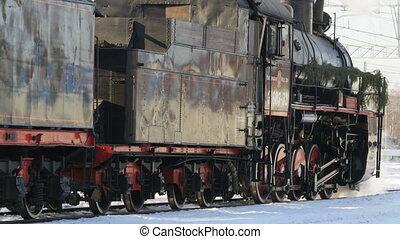noir, vapeur, locomotive
