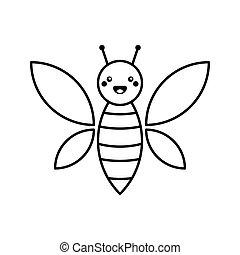 noir, vecteur, character., art, bébé, blanc, arrière-plan., rigolote, dessin animé, ligne, isolé, mignon, illustration., abeille, style.