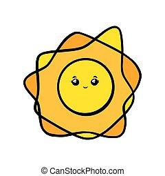 noir, vecteur, figure, illustration, griffonnage, style., smile., sourire, mignon, soleil, kawaii, blanc, yeux