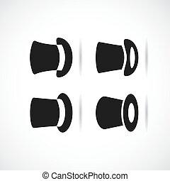 noir, vecteur, fond blanc, grand, ensemble, icône, chapeau