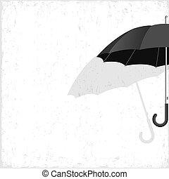 noir, vecteur, grunge, fond, parapluie