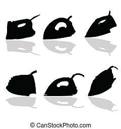 noir, vecteur, silhouette, fer