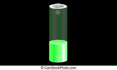 noir, vert, couleur, charger, batterie, arrière-plan., animation