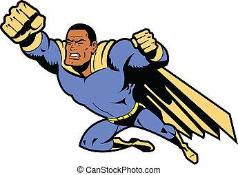 noir, voler, superhero, poing a empoigné