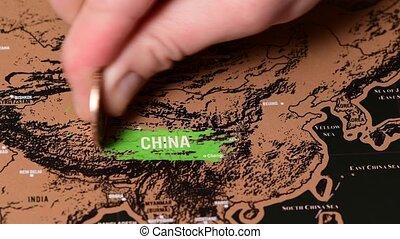 noir, voyage, éraflure, monnaie, dollar, porcelaine, asie, carte