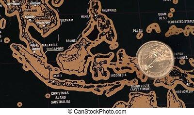 noir, voyage, éraflure, singapour, monnaie, dollar, asie, carte