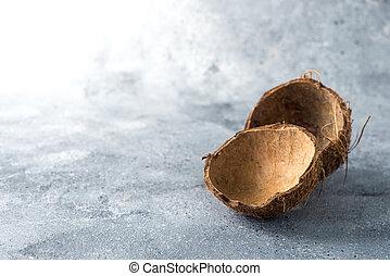noix coco, bois, fond