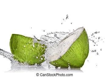 noix coco, isolé, eau, éclaboussure, blanc vert