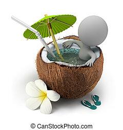 noix coco, prend, gens, -, bain, petit, 3d