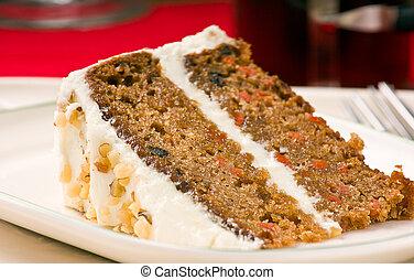 noix, gâteau carotte, plaque