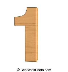 nombre, isolé, bois, fond, nouveau, blanc, une
