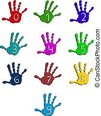 nombres, coloré, main