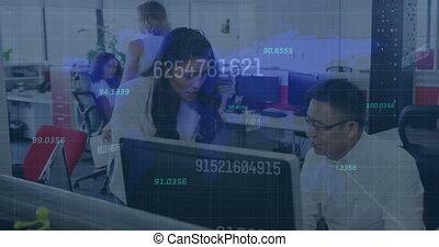 nombres, en mouvement, business, information, gens, interface, animation, bureau fonctionnant