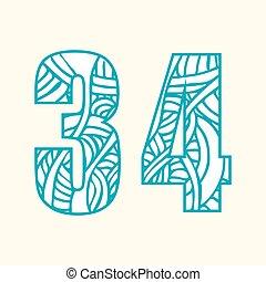 nombres, griffonnage, inclure, modèle, les, résumé, ensemble, deux