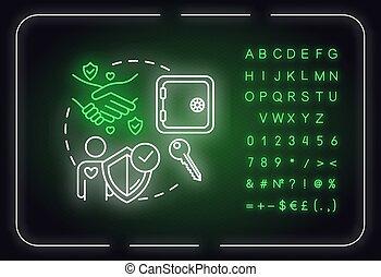 nombres, idea., être, amitié, icon., alphabet, signe, rgb, digne confiance, fiable, illustration, vecteur, isolé, lumière, être, advices., relations, incandescent, extérieur, néon, couleur, concept, ami, symbols.