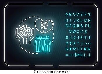 nombres, idea., amis, être, amitié, icon., alphabet, signe, oublier, fiable, rgb, illustration, vecteur, dont, loyal, isolé, lumière, advices., incandescent, extérieur, néon, couleur, concept, symbols.