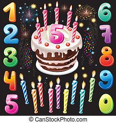 nombres, joyeux anniversaire, gâteau, feud'artifice