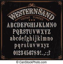 nombres, signes, occidental, alphabet, oeil caractère, police