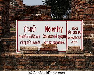 non, endroit, historique, signe, entrée