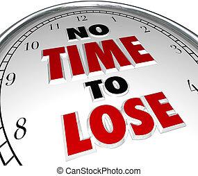 non, horloge, compte rebours, perdre, date limite, mots, temps