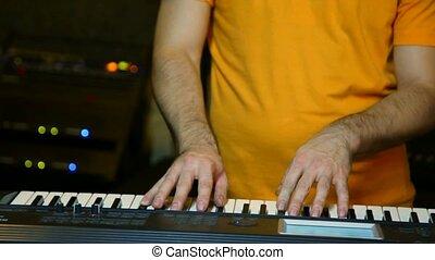 non identifié, synthétiseur, joueur, studio, clavier, jouer
