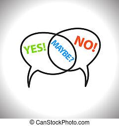 non, peut-être, icônes, vecteur, parole, texte, bulles, oui