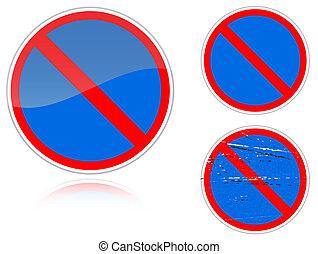 non, -, signe, stationnement, variantes, route
