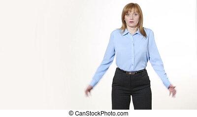 nonverbal, corps, geste, girl, pantalon, shrug., blous., isolé, femmes, language., blanc, gestures., caractères indicateurs, arrière-plan.