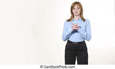 nonverbal, corps, girl, imbriqué, pantalon, blous., isolé, femmes, fingers., language., blanc, gestures., caractères indicateurs, arrière-plan.