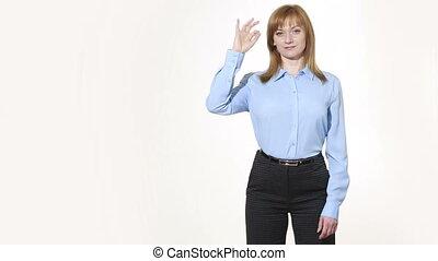 nonverbal, corps, girl, ok, pantalon, blous., isolé, femmes, language., blanc, gesture., gestures., caractères indicateurs, arrière-plan.
