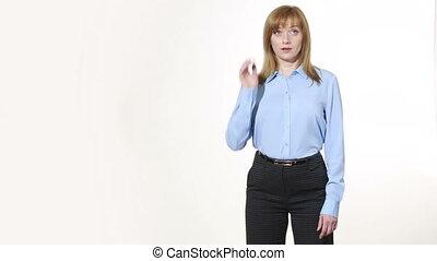 nonverbal, corps, mensonges, girl, frottements, eyelids., pantalon, blous., isolé, femmes, language., blanc, gesture., gestures., caractères indicateurs, sien, arrière-plan.