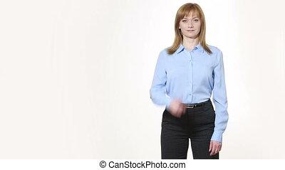 nonverbal, corps, thumb., élevé, girl, pantalon, blous., isolé, femmes, language., blanc, gestures., caractères indicateurs, arrière-plan.