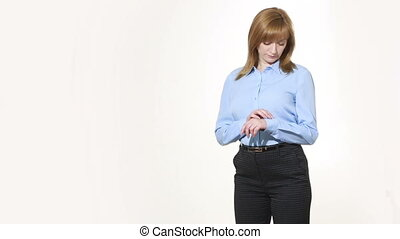 nonverbal, cuff., corps, girl, pantalon, blous., isolé, femmes, language., blanc, corrects, gestures., caractères indicateurs, arrière-plan.