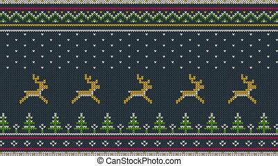 nord, animé, fait boucle, tricoté, ornement