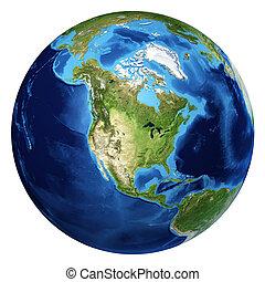 nord, d, globe, rendering., réaliste, 3, la terre, vue., amérique