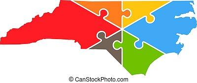 nord, puzzle, illustration, vecteur, logo, rebuild, caroline